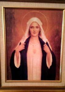 My picture of the Blessed Virgin, which holds a prominent spot in our living room.