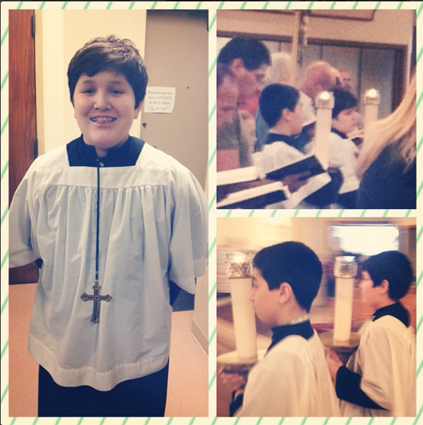 The day I forgot to take him to his class, I was on a momma high from this event: PROUD momma moment! Jonathan moved up to gold cross today, something typically reserved for 10th graders. He tells me he is the youngest to receive it - he's in 7th grade. At our parish, servers advance as they gain experience, starting with a wooden cross, then moving up to silver cross in middle school and gold cross in high school. The college-aged men wear a blue and red St. Benedict cross.