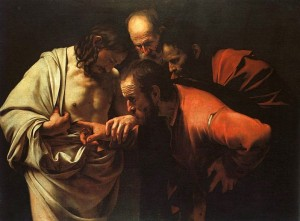 The Incredulity of St. Thomas, Carravagio, 1602