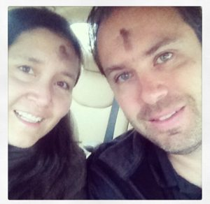 We snuck out for a morning date at 6:00 a.m. daily Mass on Ash Wednesday.
