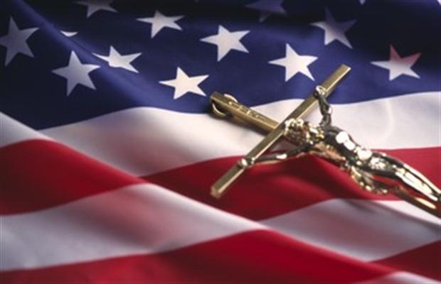 flag and crucifix