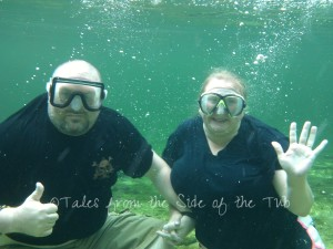 Mike and me in the crystal clear waters of Wakulla Springs last summer!