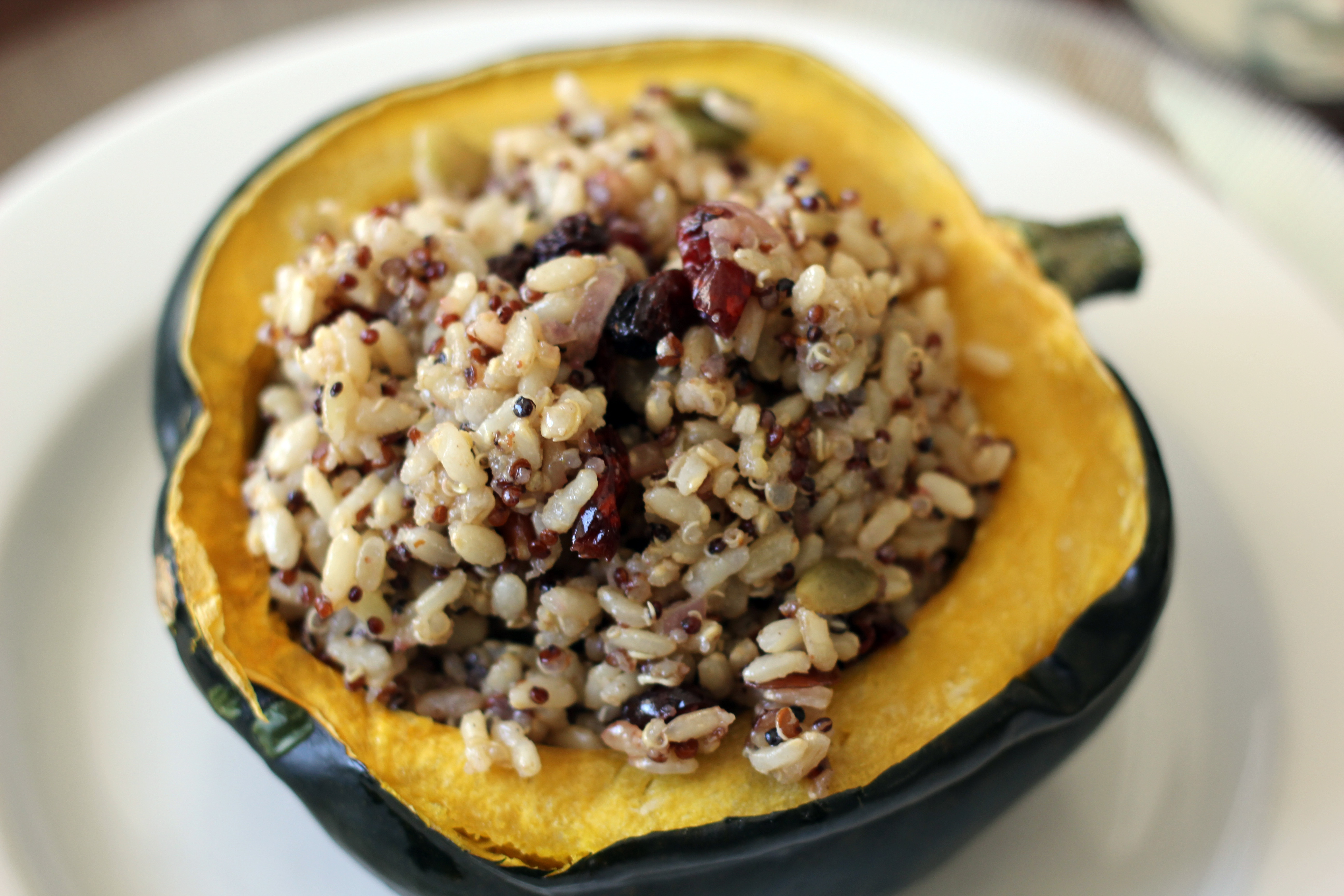 Roasted Acorn Squash with Cranberry Rice Medley