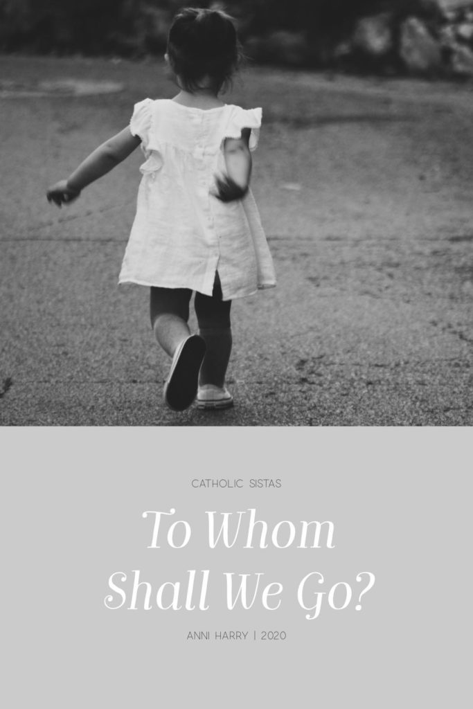 """Little girl running with abandon with the question """"To Whom Shall We Go"""" as the feature title. #catholicsistas #recentevents #beautifulcamouflage"""